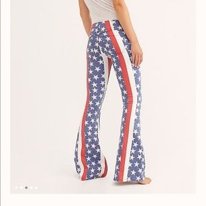 Free People Pull on Starts& Stripes Flare Jeans